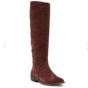 NWOB UGG Tall Suede Boots Mahogany Low Heel Rust
